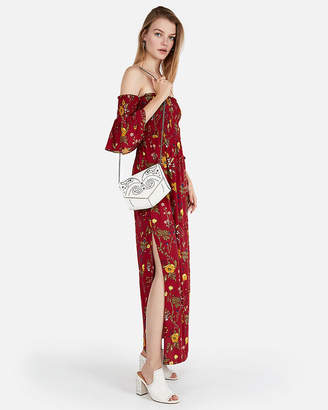 Express Floral Off The Shoulder Bell Sleeve Maxi Dress