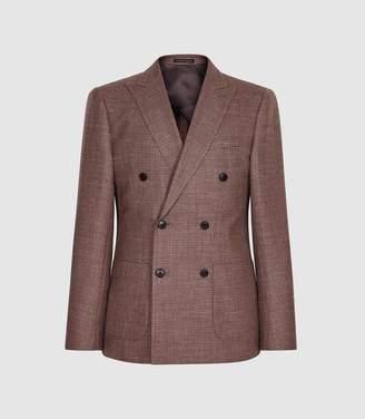 Reiss Recline - Wool Silk Blend Double Breasted Blazer in Bordeaux