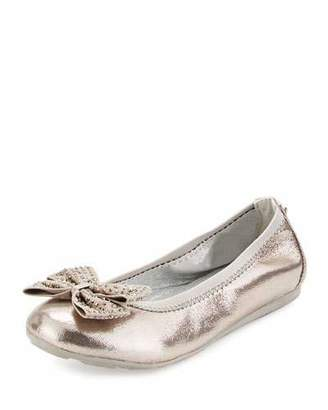 Stuart Weitzman Fannie Jeweled-Bow Faux-Leather Ballet Flat, Pewter, Youth