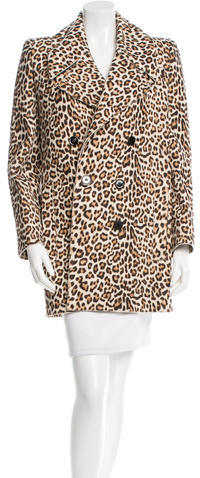 Carven Carven Leopard Print Double-Breasted Coat