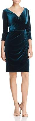 Betsey Johnson Faux-Wrap Velvet Dress