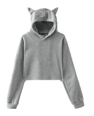 b0e341e99b430 Tymhgt-CA Women Teen Girls Cute Cat Ear Solid Crop Top Hoodie Sweatshirt  Pullover XS