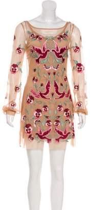 For Love & Lemons Embroidered Mesh Mini Dress Tan Embroidered Mesh Mini Dress