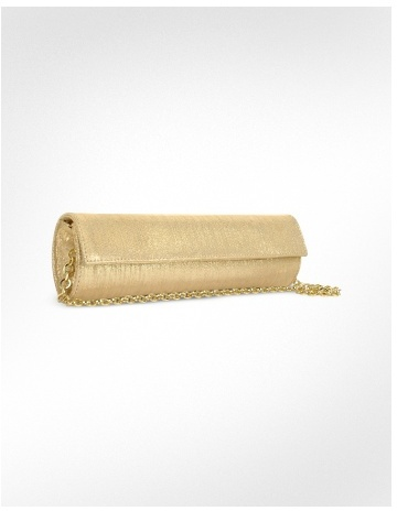 Loriblu Metallic Gold Evening Clutch w/ Chain Strap