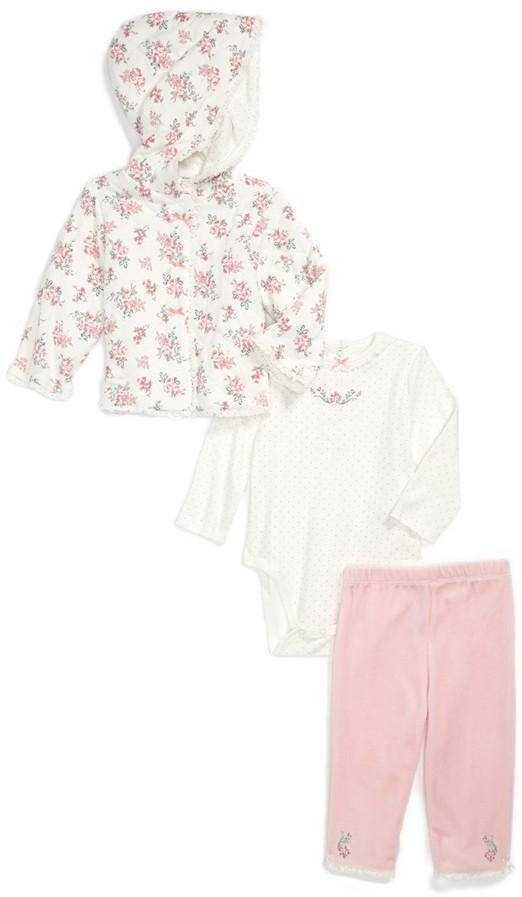 Little Me 'Rose' Jacket, Bodysuit & Leggings (Baby Girls)