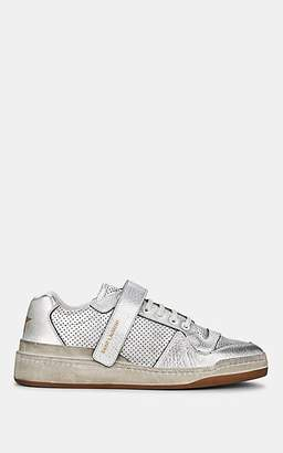 Saint Laurent Women's SL24 Leather Sneakers - Silver