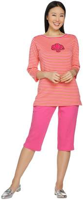 Factory Quacker Striped Knit T-Shirt and Pedal Pushers Set
