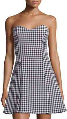 Lucca Couture Gingham Fitted Strapless Dress, Black/White $69 thestylecure.com