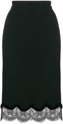 Rochas scalloped lace trim skirt