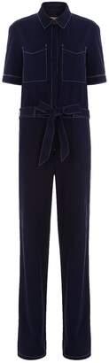 Burberry Belted Cotton-Linen Jumpsuit