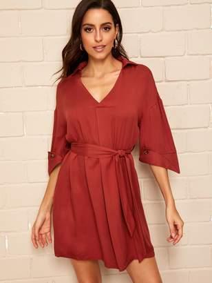 Shein Drop Shoulder Buttoned Cuff Belted Shirt Dress