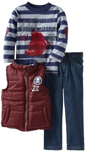 Nannette Boys 2-7 Three Pieced Stripped Pirate Ship Vest with Pullover and Pant