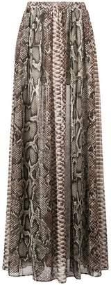 Elie Saab snakeskin print double slit skirt