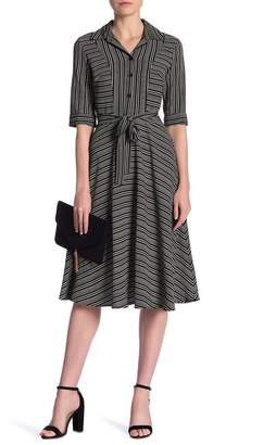 Gabby Skye Elbow Sleeve Stripe Shirt Dress