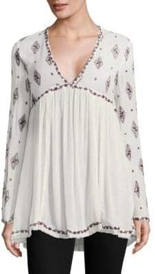 Free People Diamond Embroidered Bell-Sleeve Tunic