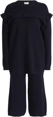 RED Valentino (レッド ヴァレンティノ) - Redvalentino ラッフルトリム 刺繍 ブラッシュドウール セーター&パンツセット