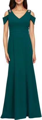 Alex Evenings Cold Shoulder Trumpet Gown