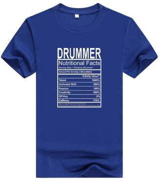 Llynice Drummer Gift Nutritional Facts Gag Gifts Funny Young Mens T-Shirt