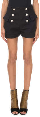 Balmain High-Waist Tweed Button-Front Shorts