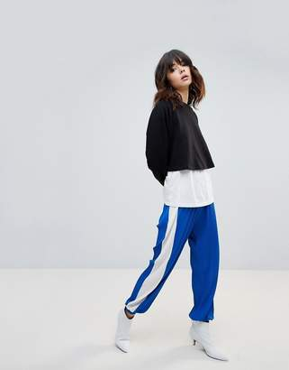 Asos Design Pleated Plisse Joggers with Side Stripe