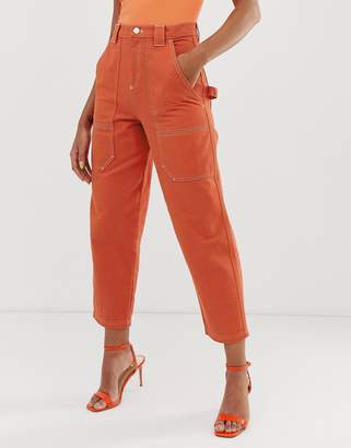 Asos Design DESIGN carpenter boyfriend jeans in orange with contrast stitch detail