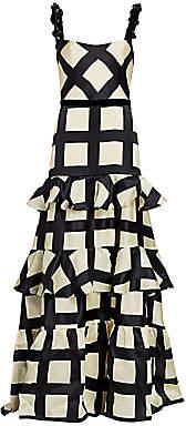 Johanna Ortiz Women's Grid-Print Ruffle Embellished-Strap Silk Gown