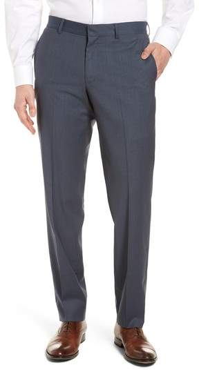 Check Flat Front Stretch Wool Pants