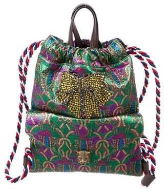 06e68b7ae7c Gucci Brocade Animalier Drawstring Backpack