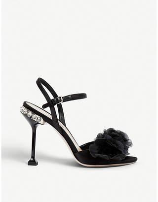 Miu Miu Crystal-embellished floral-appliquéd satin sandals