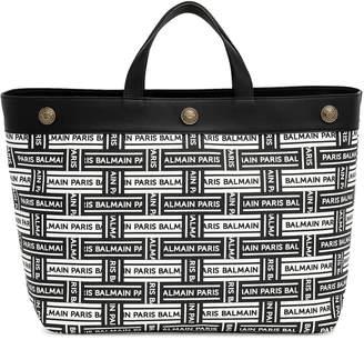 bf73d847 Balmain Black and white logo leather tote