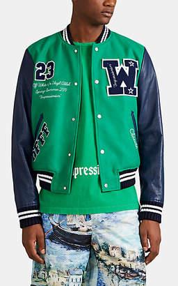 "Off-White Men's ""Impressionism"" Wool-Blend & Leather Varsity Jacket - Green"