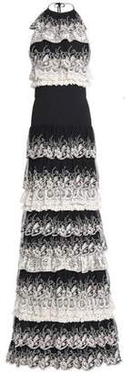 Just Cavalli Tiered Lace And Crepe De Chine Gown