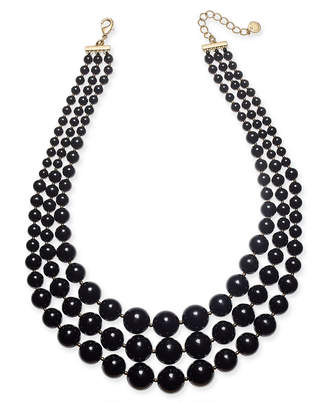 "Charter Club Gold-Tone Jet Pearl Layer Statement Necklace, 18"" + 2"" extender"