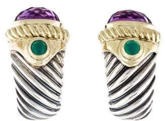 David Yurman Amethyst & Dyed Chalcedony Shrimp Earrings