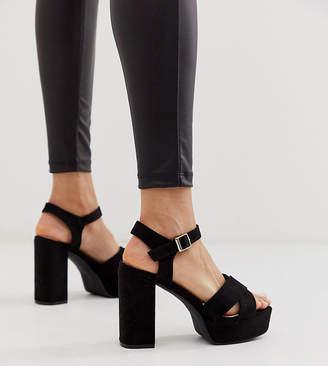 Glamorous Exclusive black platform heeled sandals