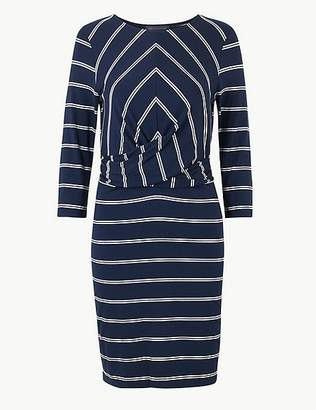 Marks and Spencer PETITE Striped 3/4 Sleeve Bodycon Mini Dress