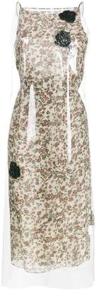 Calvin Klein Floral Print midi dress with transparent overlayer