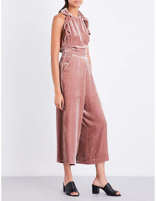 Whistles Lola ruffled velvet jumpsuit