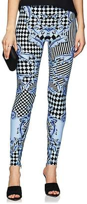 Versace Women's Harlequin-Print High-Waist Leggings - Blue