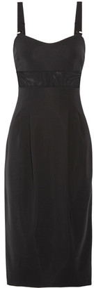 Max Mara - Ovada Mesh-trimmed Tech-jersey Midi Dress - Black $975 thestylecure.com