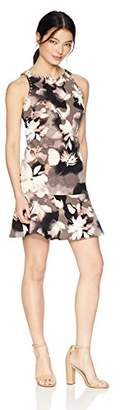 Ellen Tracy Women's Petite Sleeveless Flounce Hem Dress