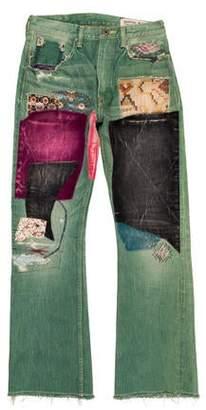 Kapital Okabilly Velvet Patchwork Skinny Jeans