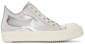 Rick Owens Silver Metallic Low Sneakers