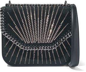 Stella McCartney Studded Faux Leather And Suede Shoulder Bag