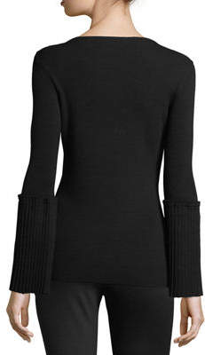 Tahari ASL Ribbed-Knit Sweater w/Pleated Bell Sleeves