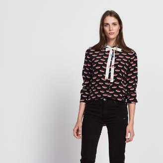 Sandro Heart print silk shirt