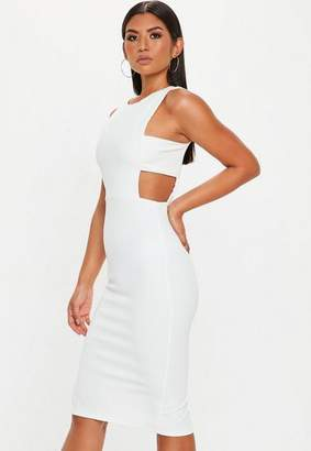 Missguided White Sleeveless Cut Out Side Midi Dress