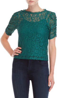 Almost Famous Lace Ruched Shoulder Top