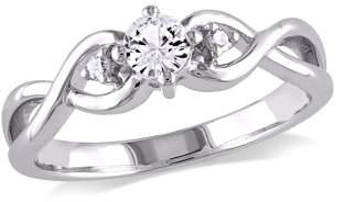 Miabella 1/3 Carat T.G.W. Created White Sapphire and Diamond-Accent Sterling Silver Infinity Promise Ring