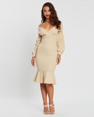boohoo Off-The-Shoulder Frill Hem Midi Dress